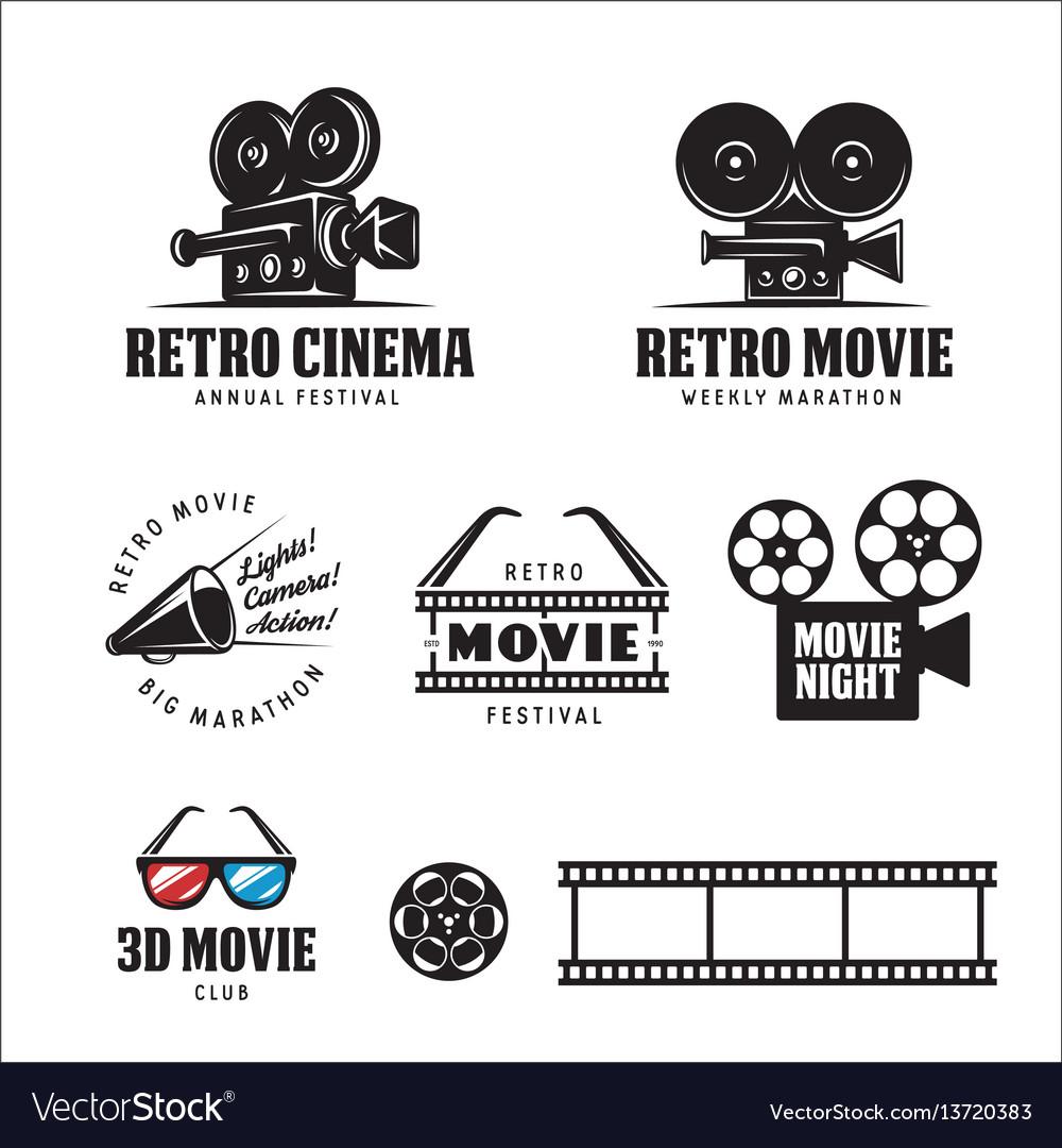Retro cinema labels set vintage