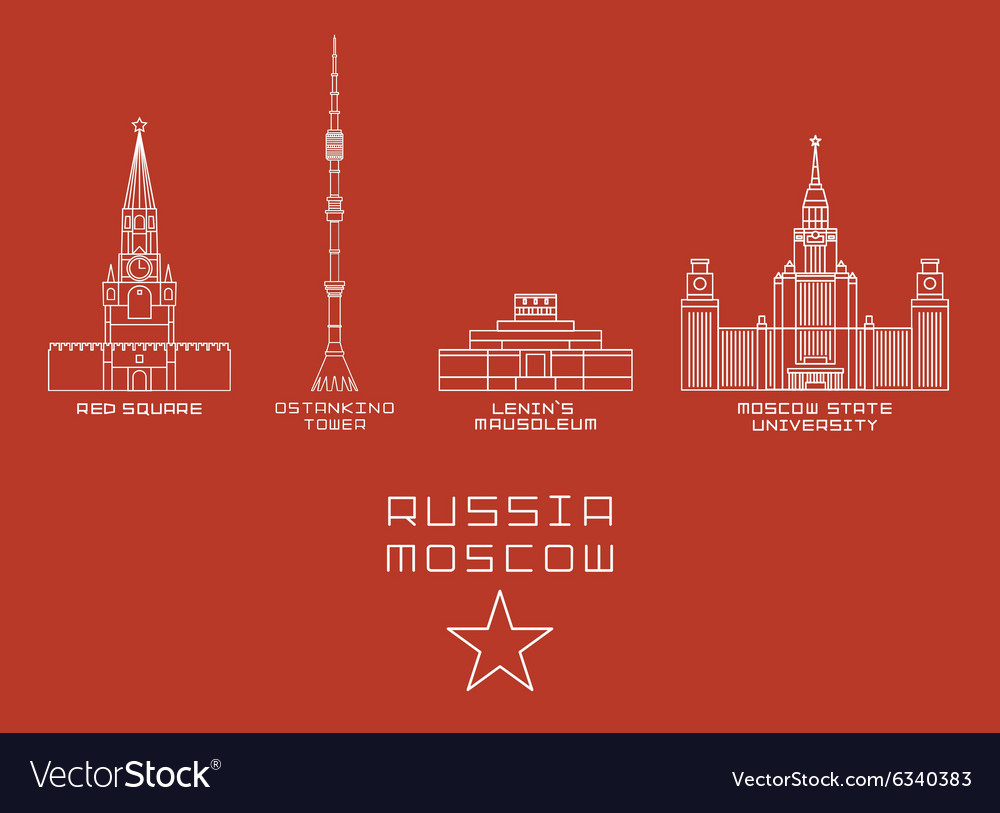 Russia Moscow city thin line icon set -Red Square