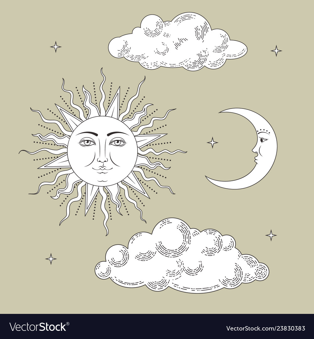 Set collections hand drawn sun and the moon with
