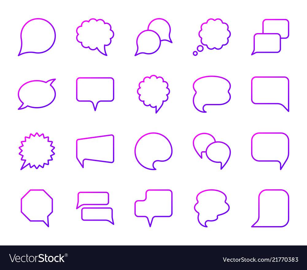 Speech bubble simple color line icons set