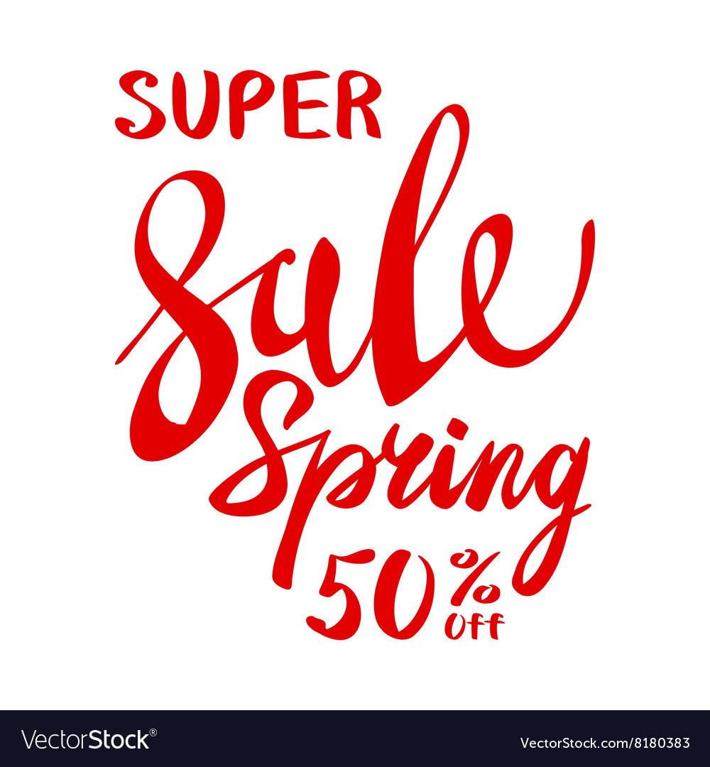 Spring text with sale tag red text spring sale
