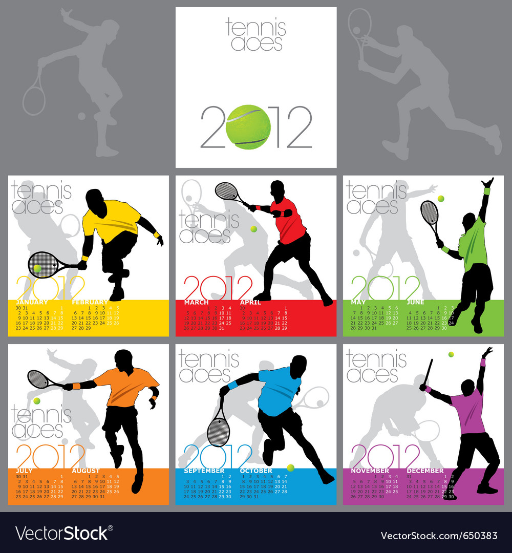 Tennis Aces 2012 Calendar Template Royalty Free Vector Image