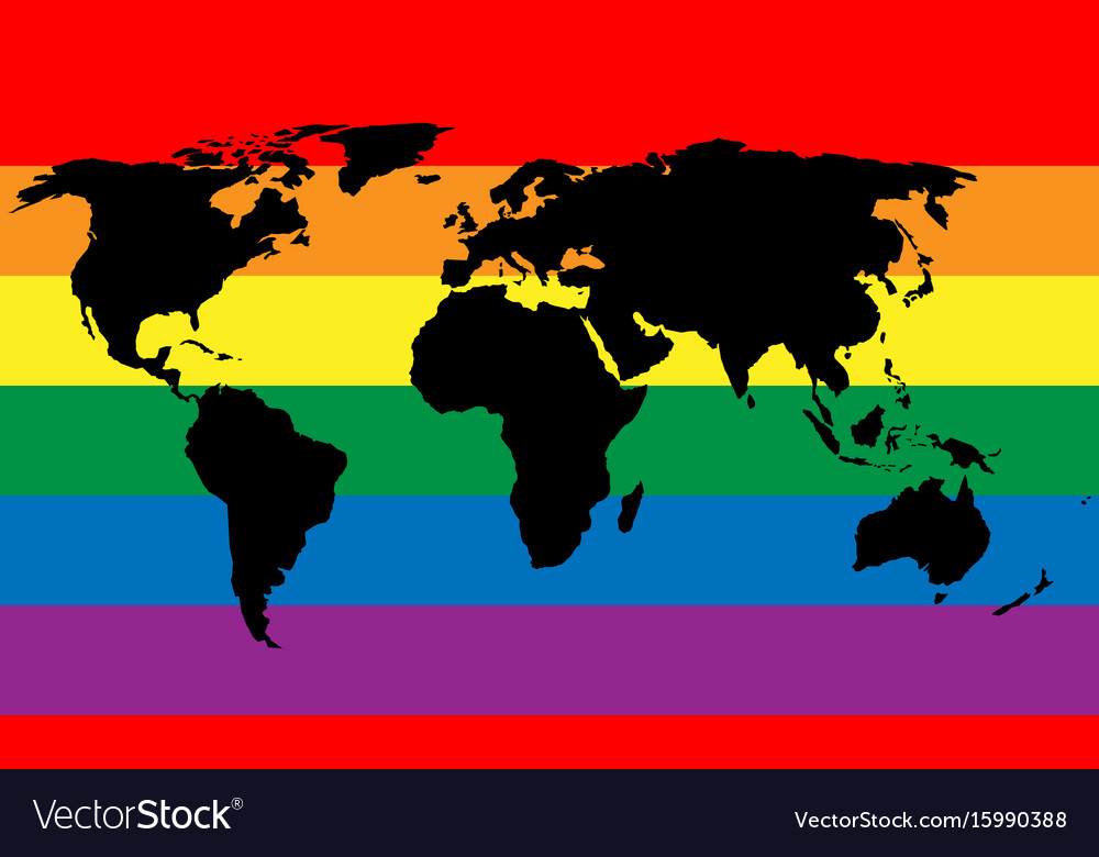Black world map silhouette on lgbt rainbow pride vector image