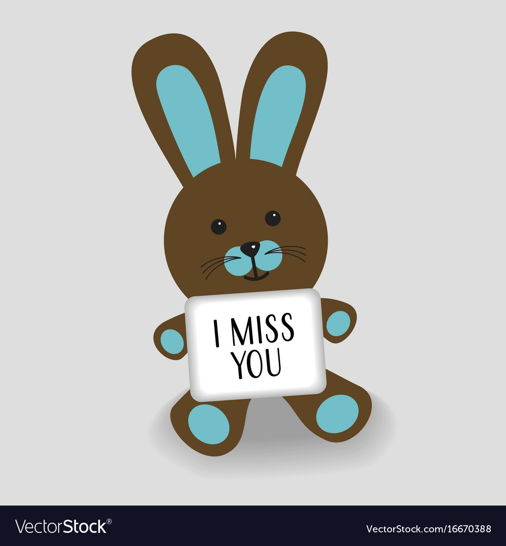 Blue bunny with message i miss you vector image