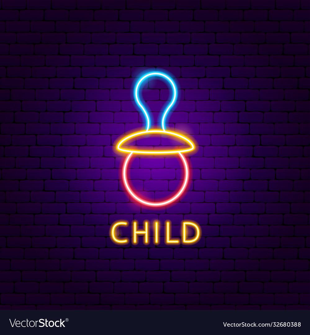 Child neon label