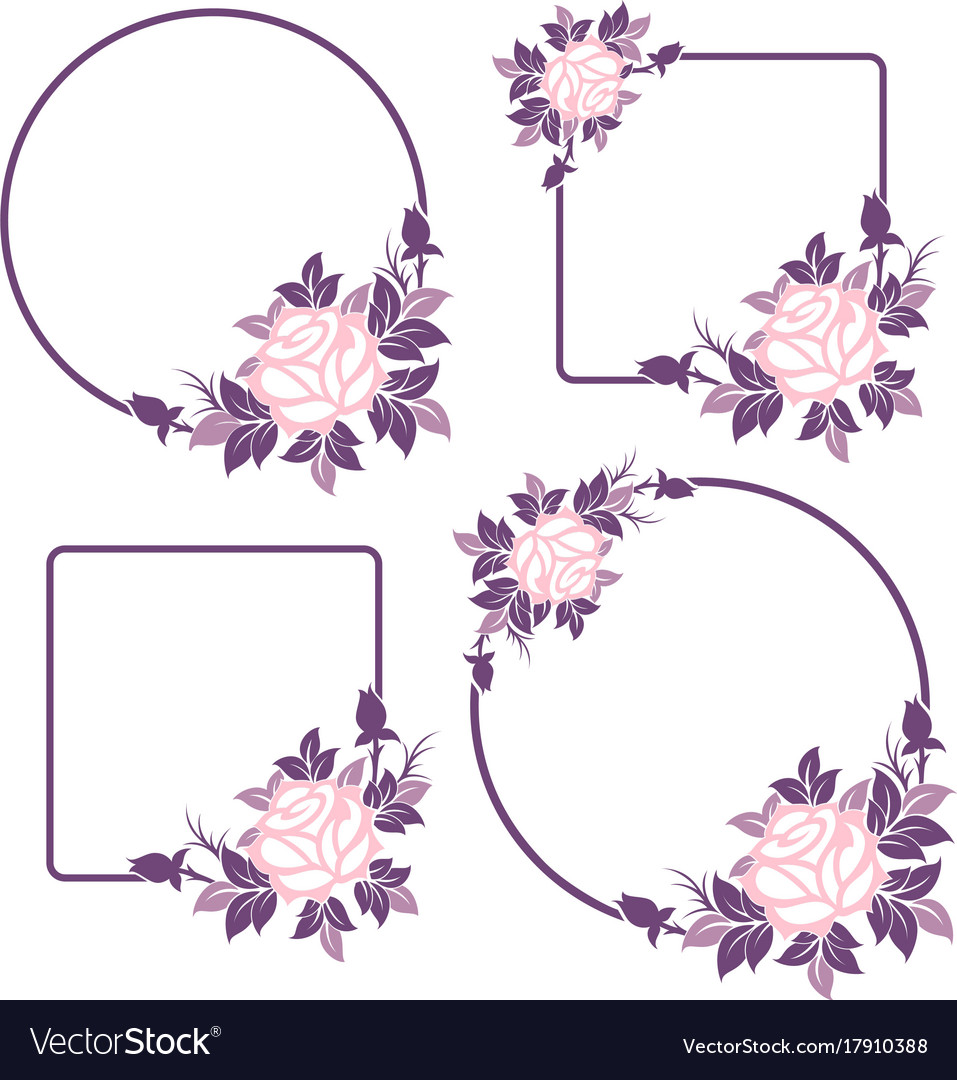 Decorative floral frames with roses Royalty Free Vector