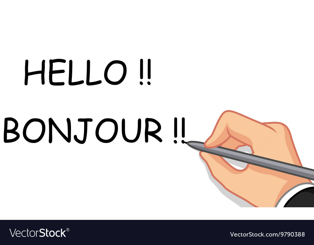 Hand writing hello and bonjour