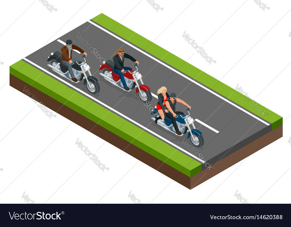 Isometric bikers on a motorcycle on road the