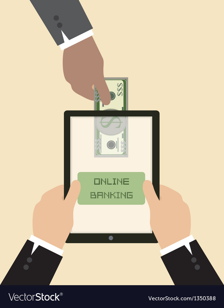 Send Money Via Smart Phone Vector Image
