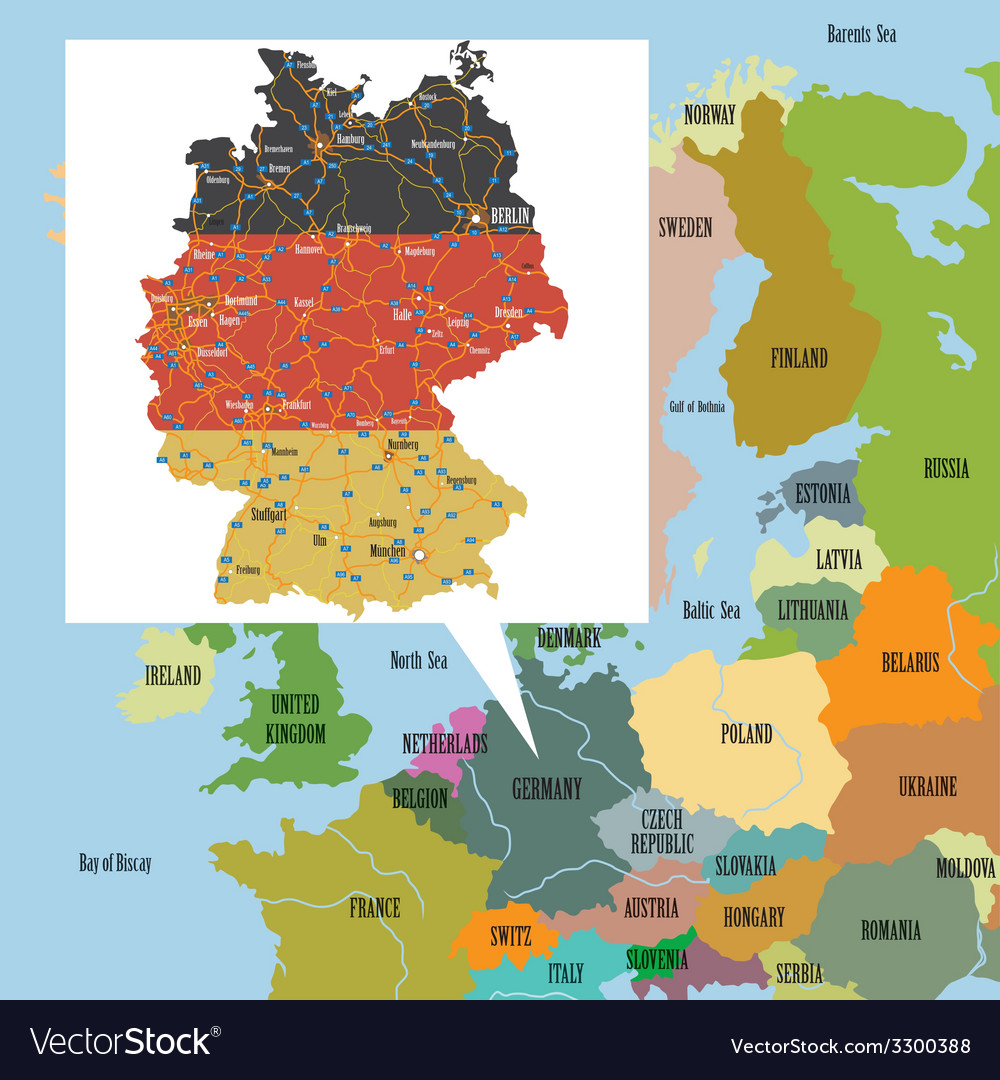 High Resolution Map Of Europe.Original Map Of Europe And Germany Royalty Free Vector Image