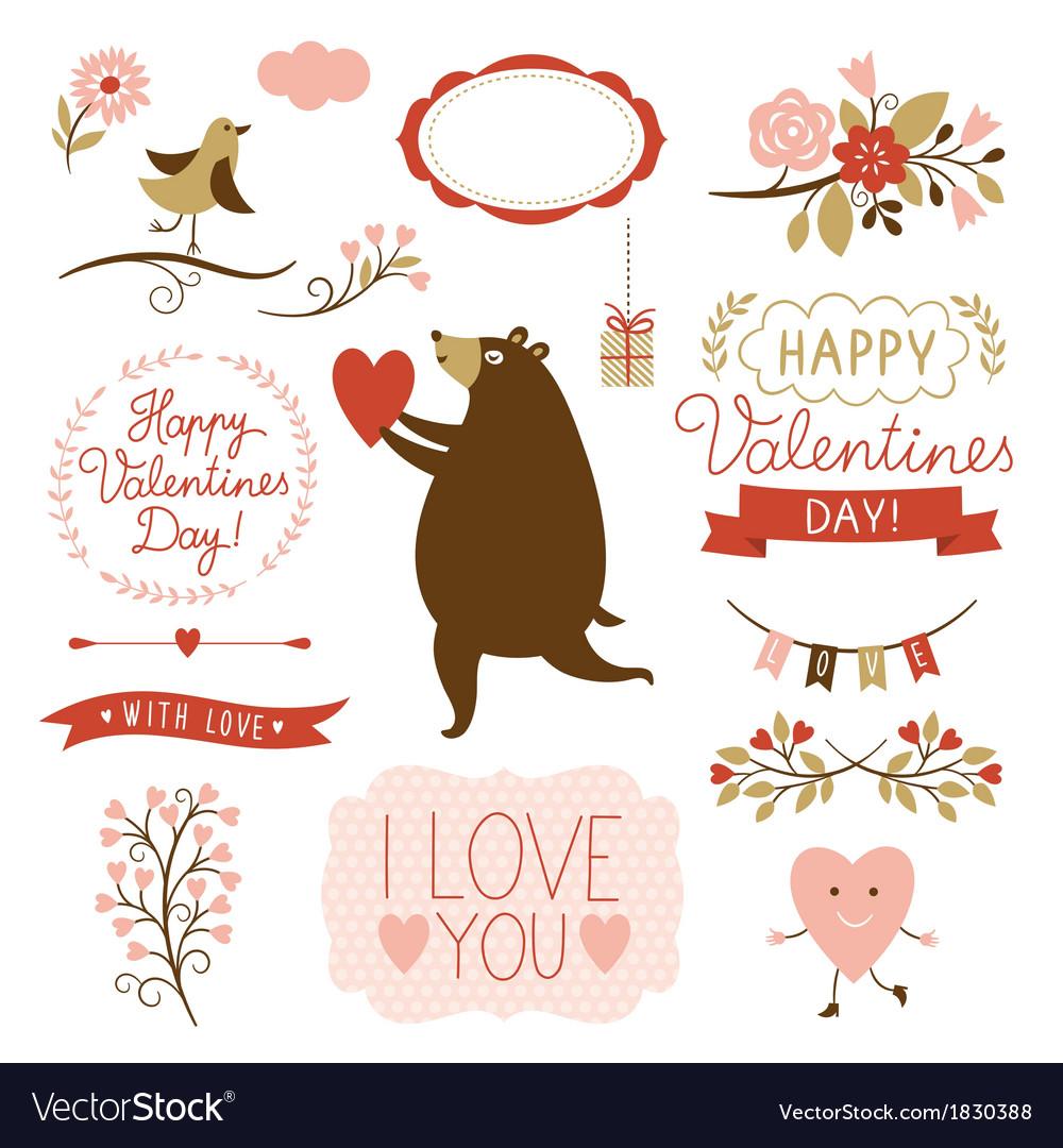Valentines day graphic elements set