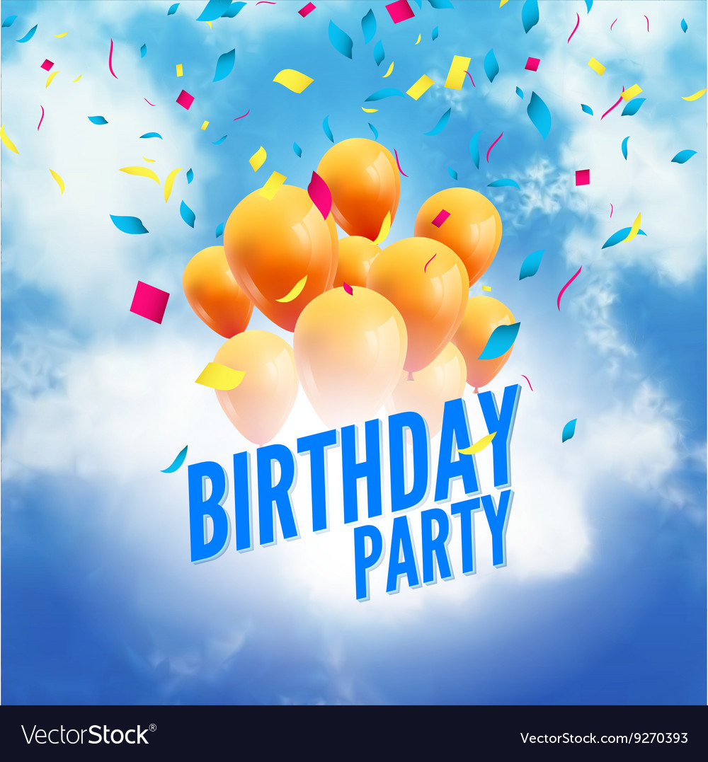 birthday party poster sky clouds happy birthday vector image