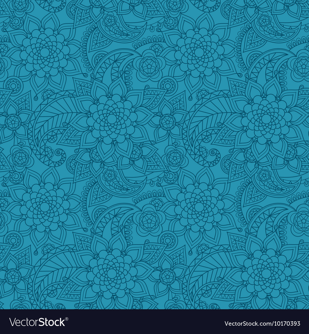 Blue arabic paisley pattern with flowers