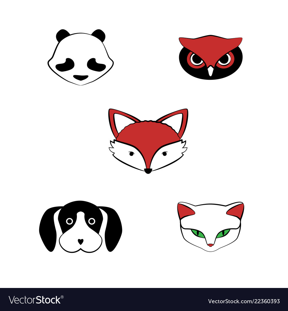 Cartoon set of cute animals for card and