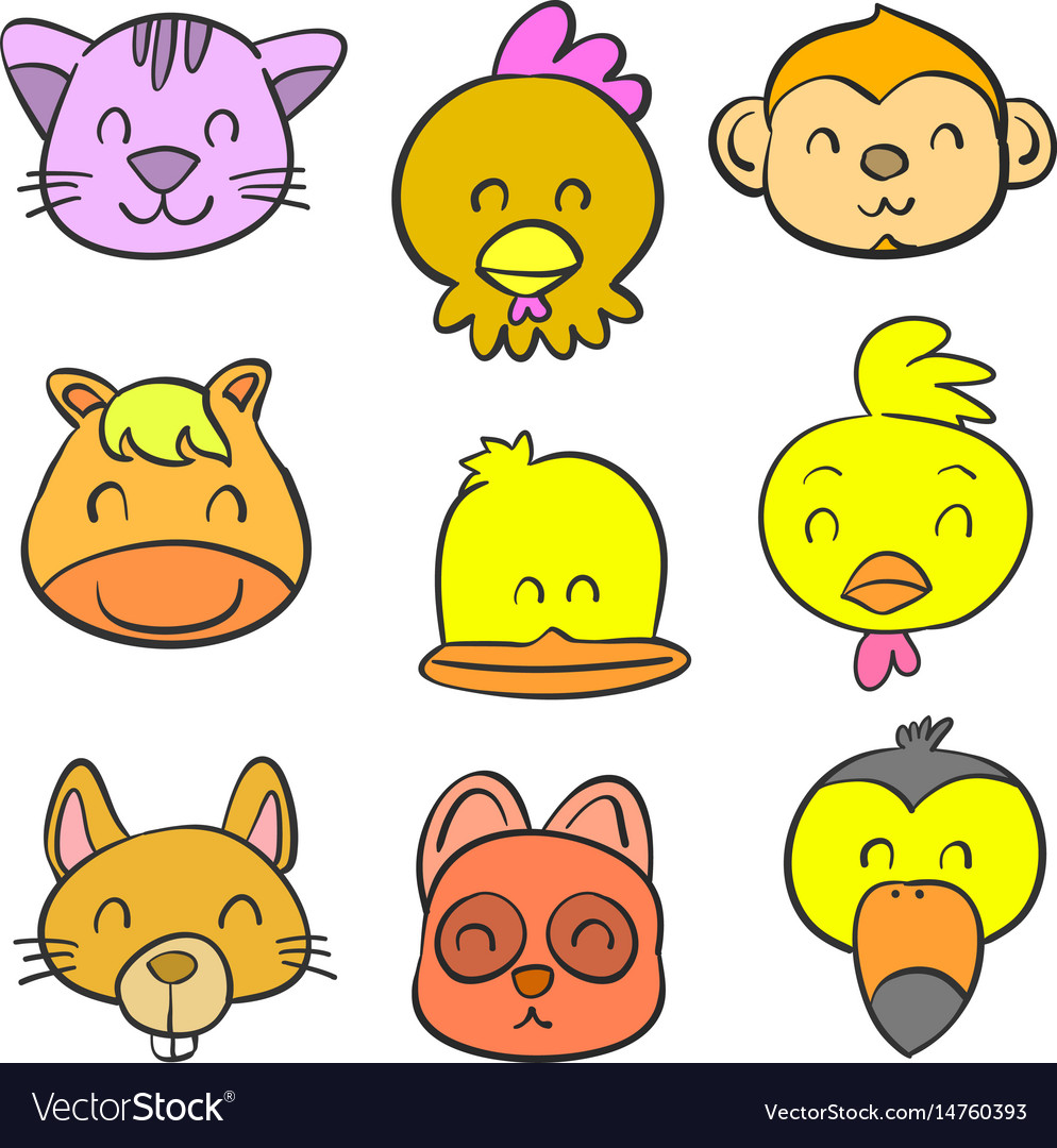 Cute animal head style of doodles
