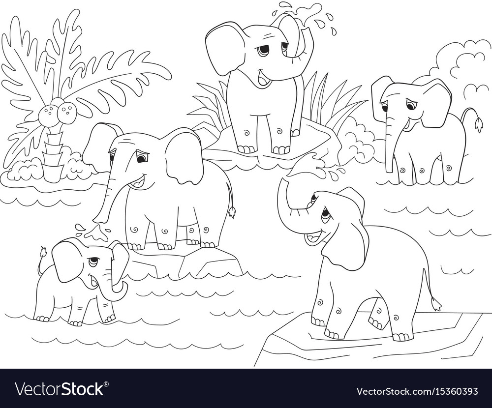 Family Of African Elephants Coloring Book For Vector Image
