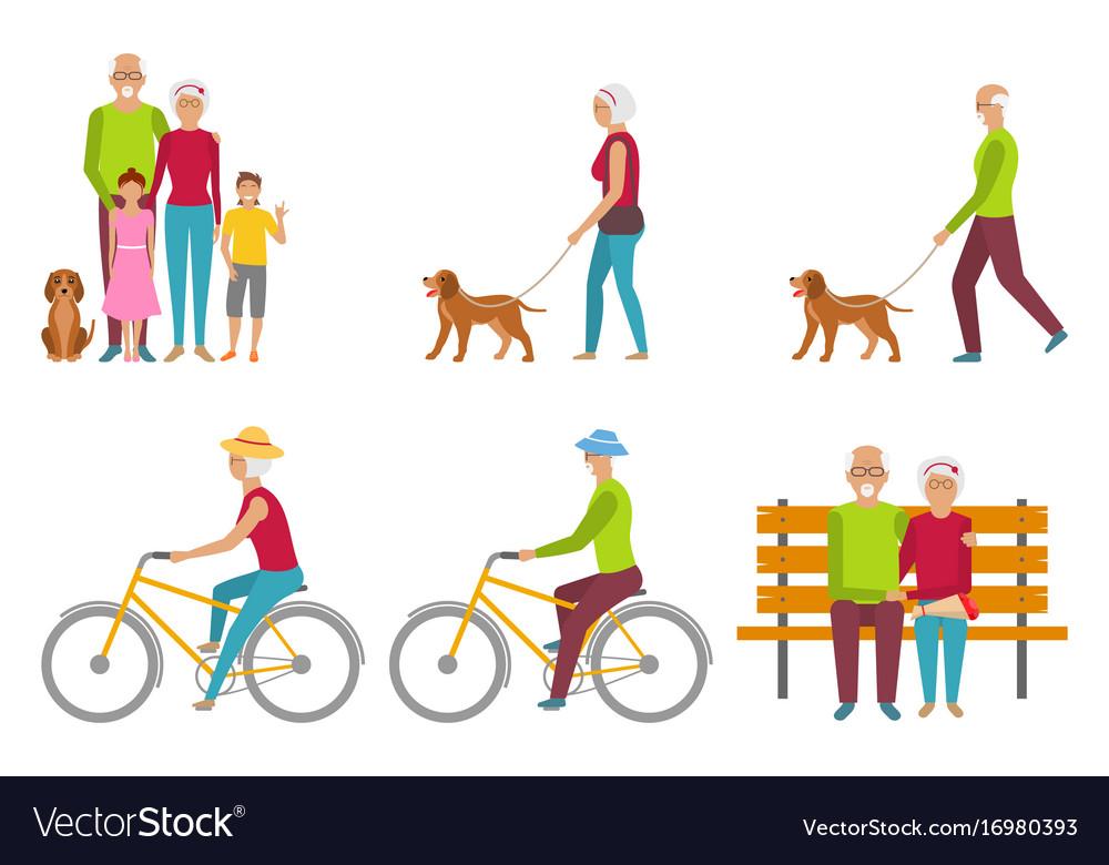 Happy grandparents elderly couple pension