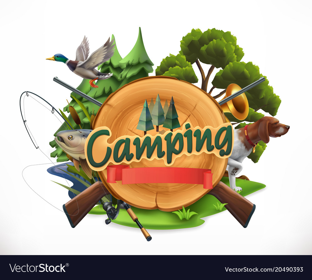 Hunting and fishing 3d emblem