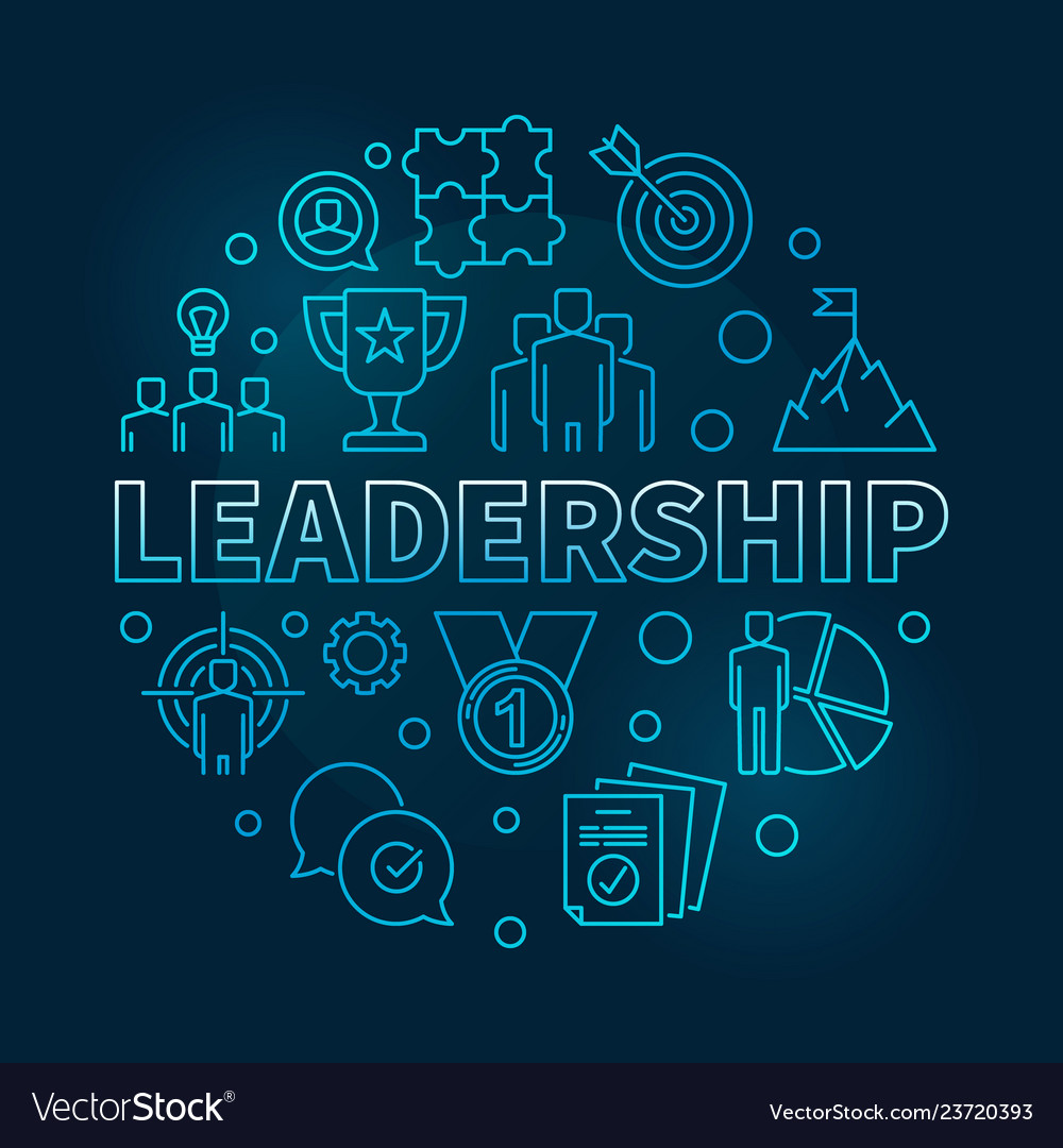 Leadership Round Blue In Thin Royalty Free Vector Image
