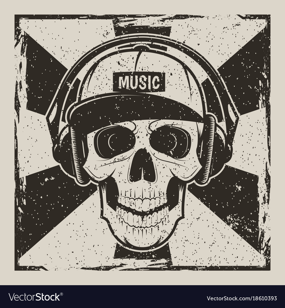 Music skull vintage grunge design