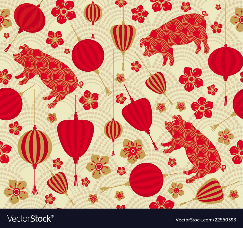 Seamless pattern with chinese new year 2019 zodiac