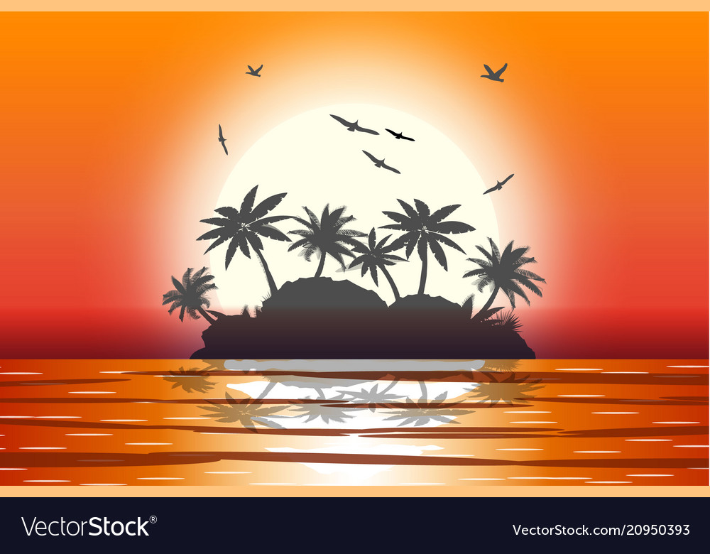 Silhouette of palm tree on beach