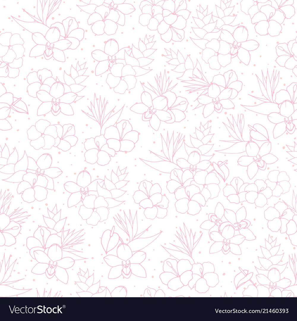 Tropical pattern with orchid hibiscus flowers