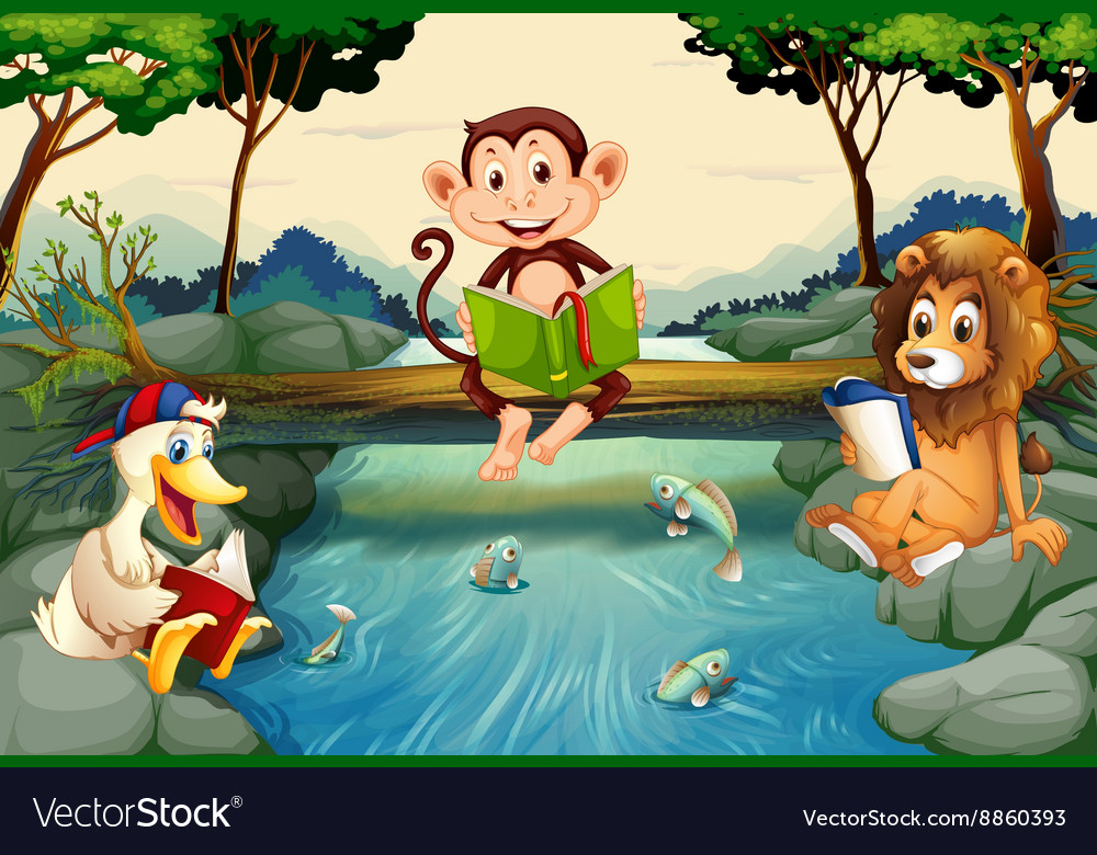 wild animals reading books by the river royalty free vector