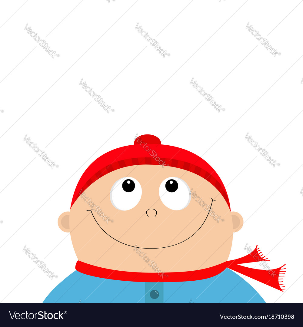 Baby boy wearing red hat and scarf kid face Vector Image ca263fd70da