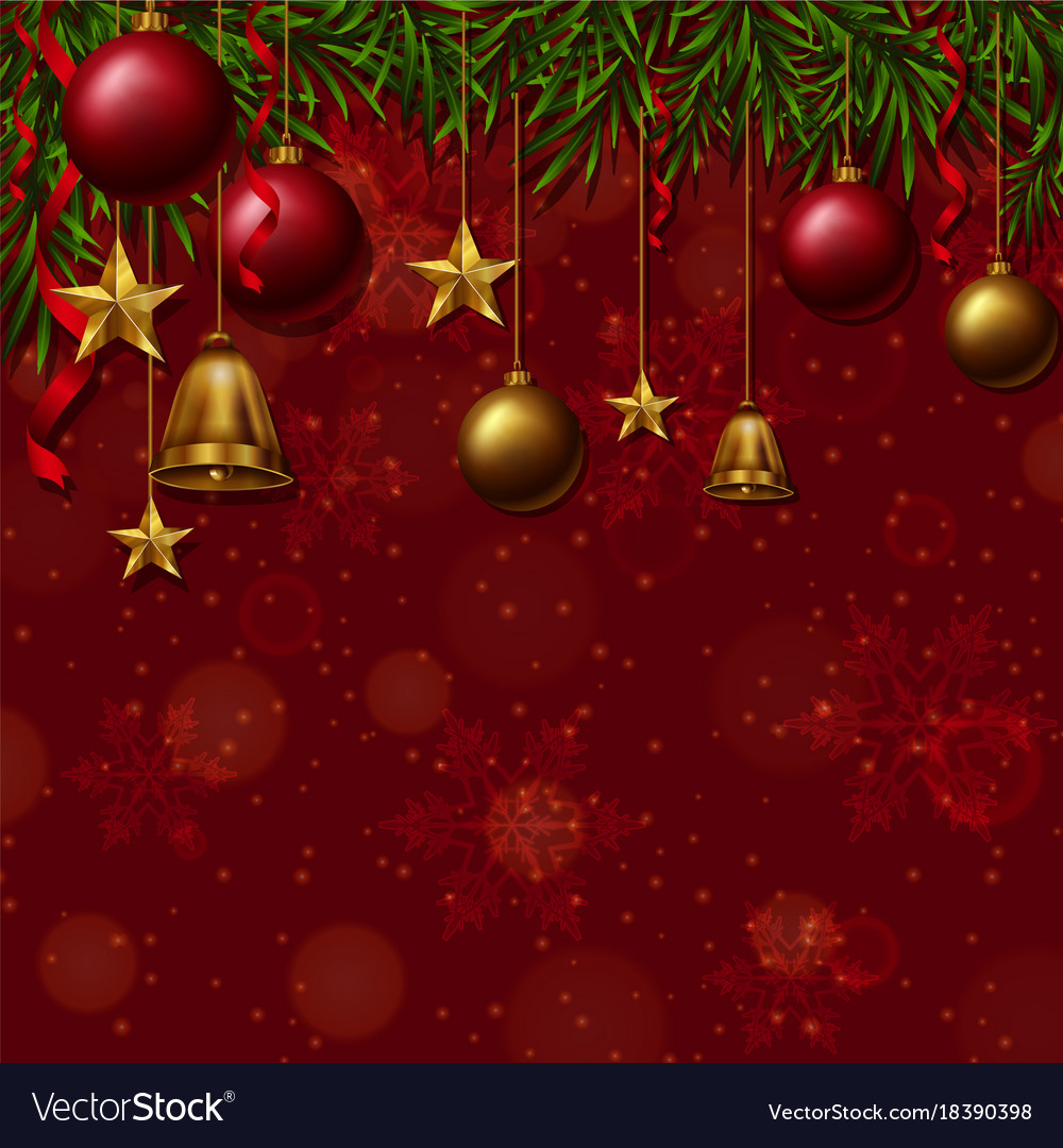 Christmas Ornaments Background.Background Template With Christmas Ornaments