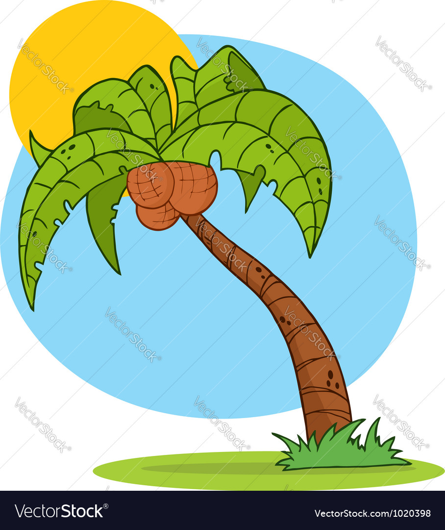 Cartoon Palm Tree With Background