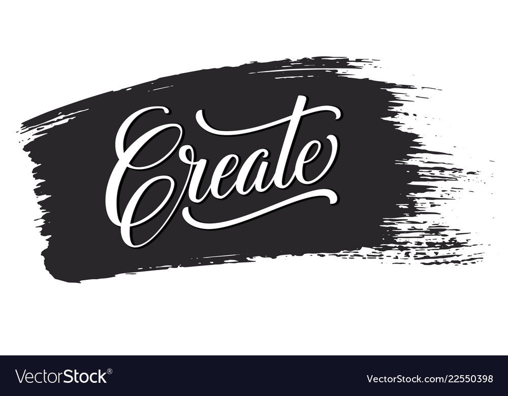 Create phrase on black brush stroke hand