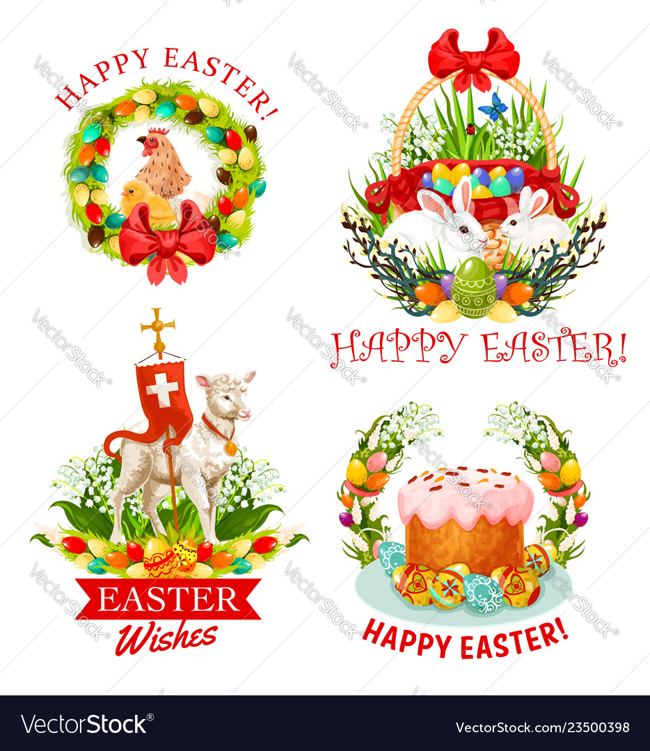 Easter holiday eggs bunnies flower and cake