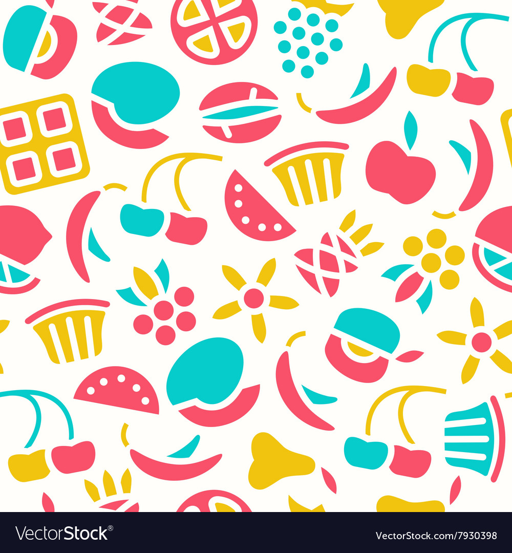 Fruit seamless pattern in flat style