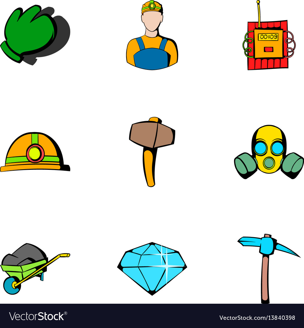 Miner icons set cartoon style vector image