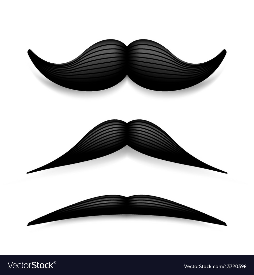 Mustache isolated on white black vintage
