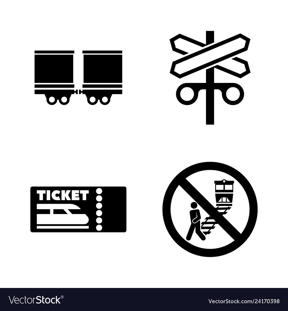 Railroad railway train simple related icons