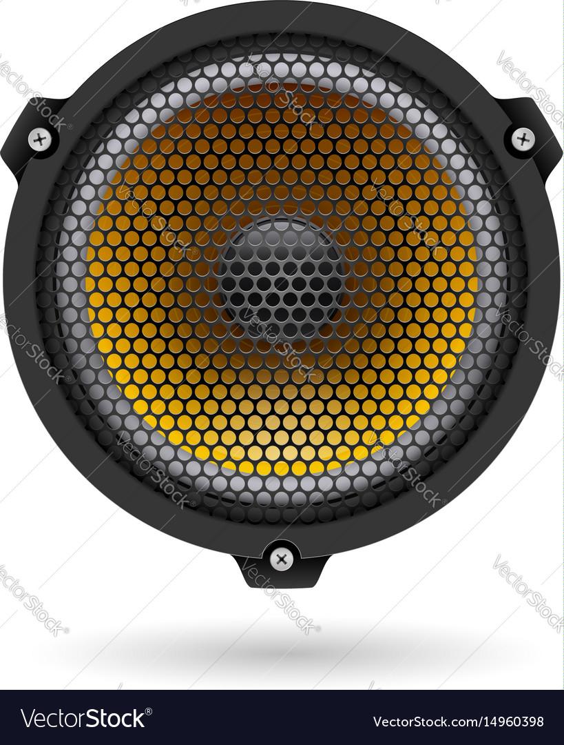 Realistic speaker on white for design