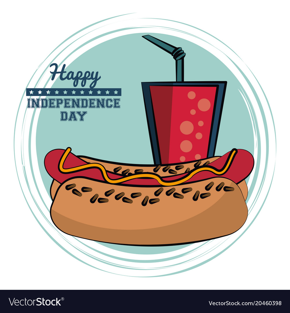 Usa independence day card with fast food vector image