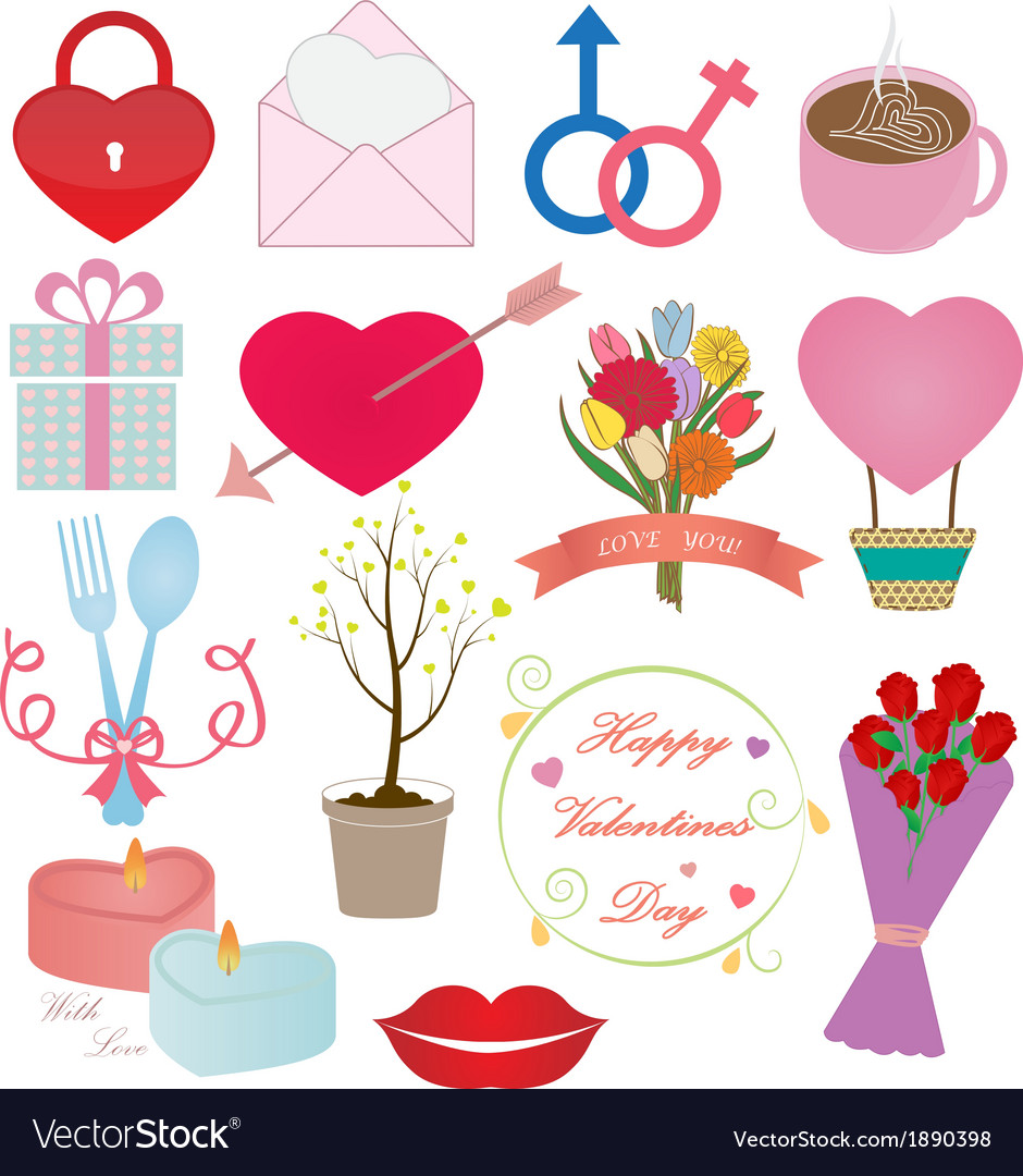 Valentines Day Icons Ornament Set