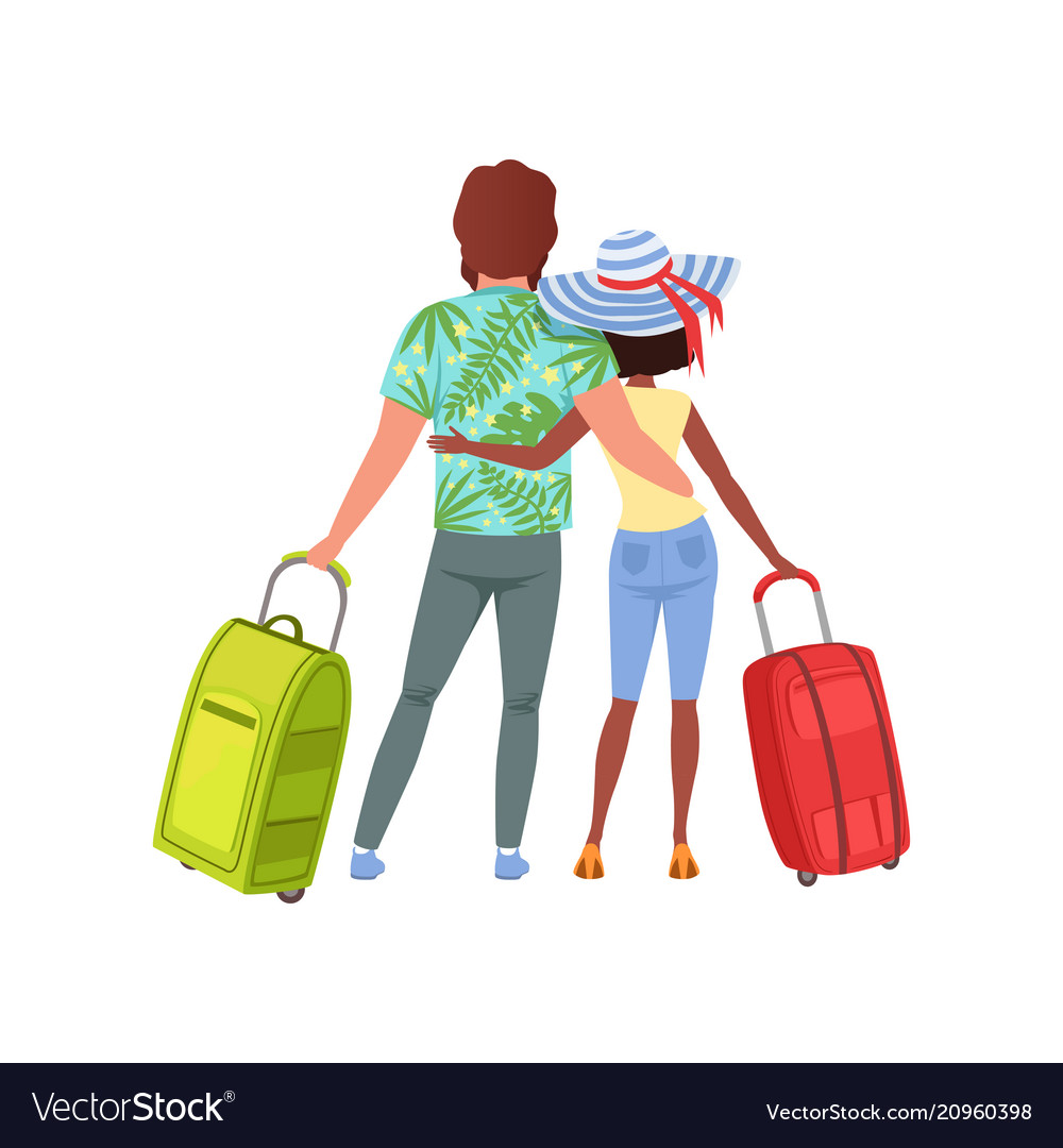 Young couple with travel bags back view man and