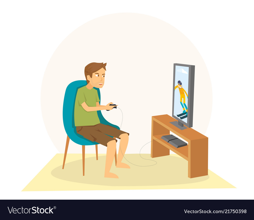 Young guy sitting and playing games on his big