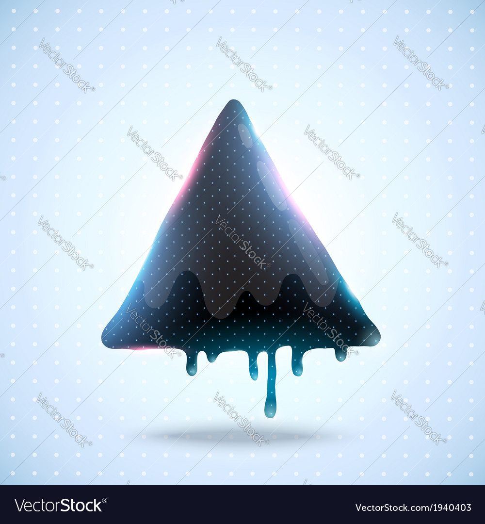 Black triangle on dot background