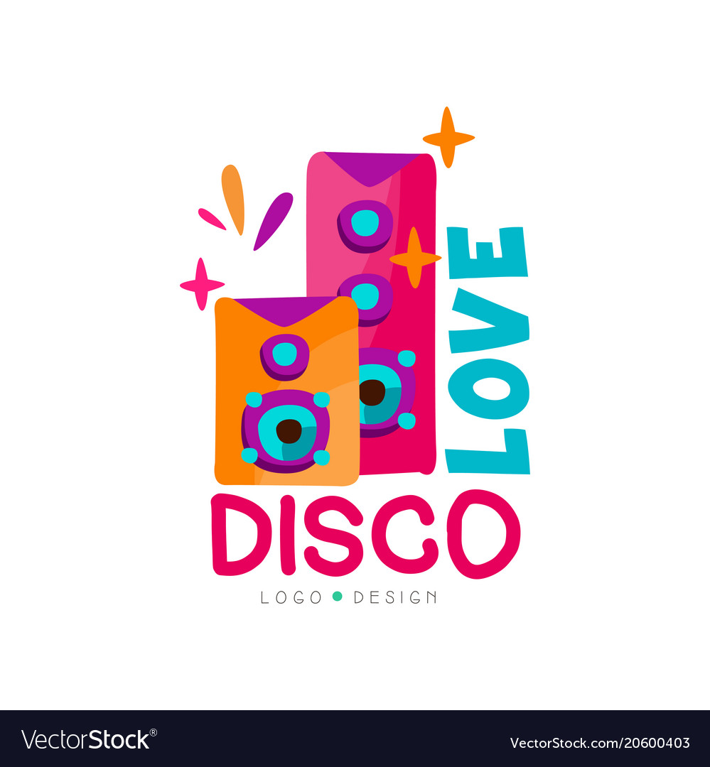 Bright logo with subwoofers love disco music vector image