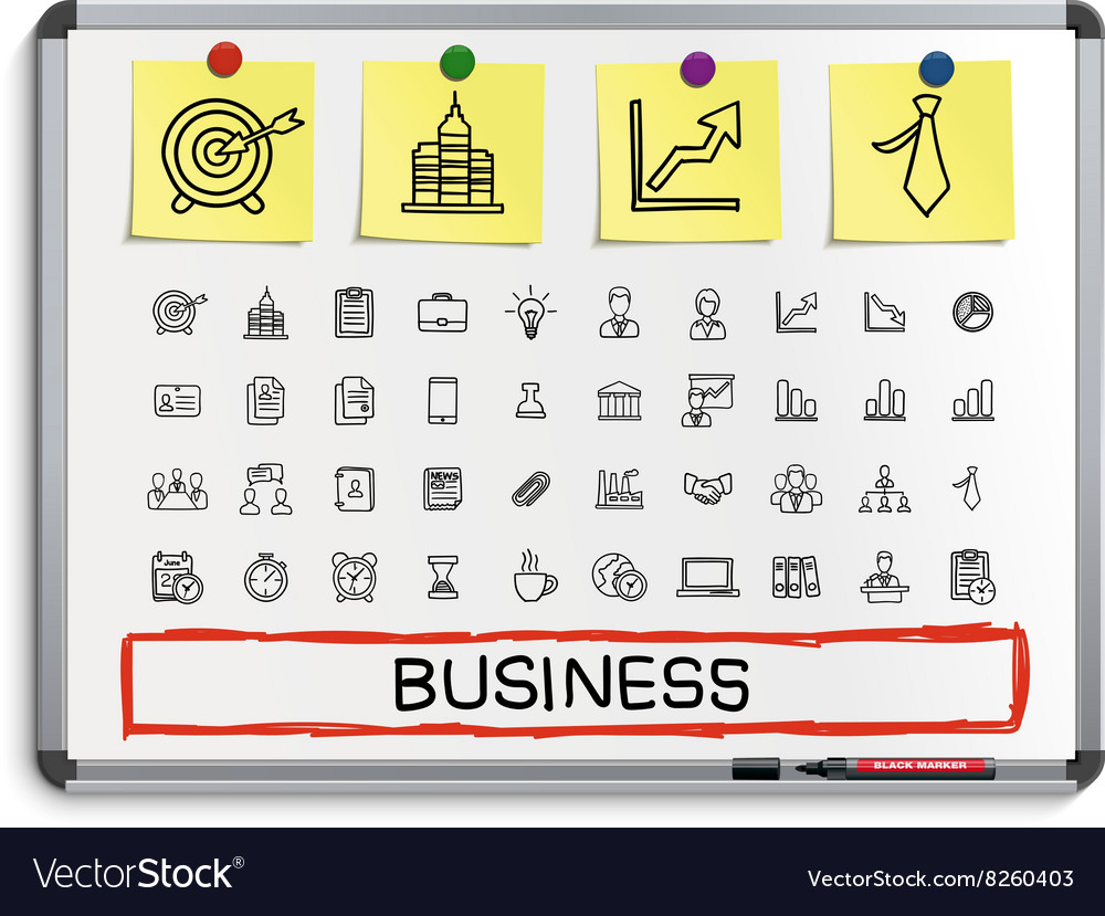 Business hand drawing line icons