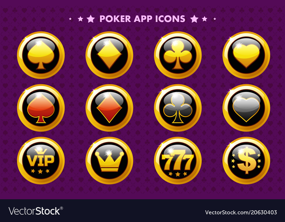 Casino and poker golden app icon glossy objects