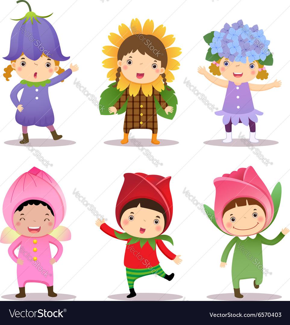 Cute kids wearing flowers costumes