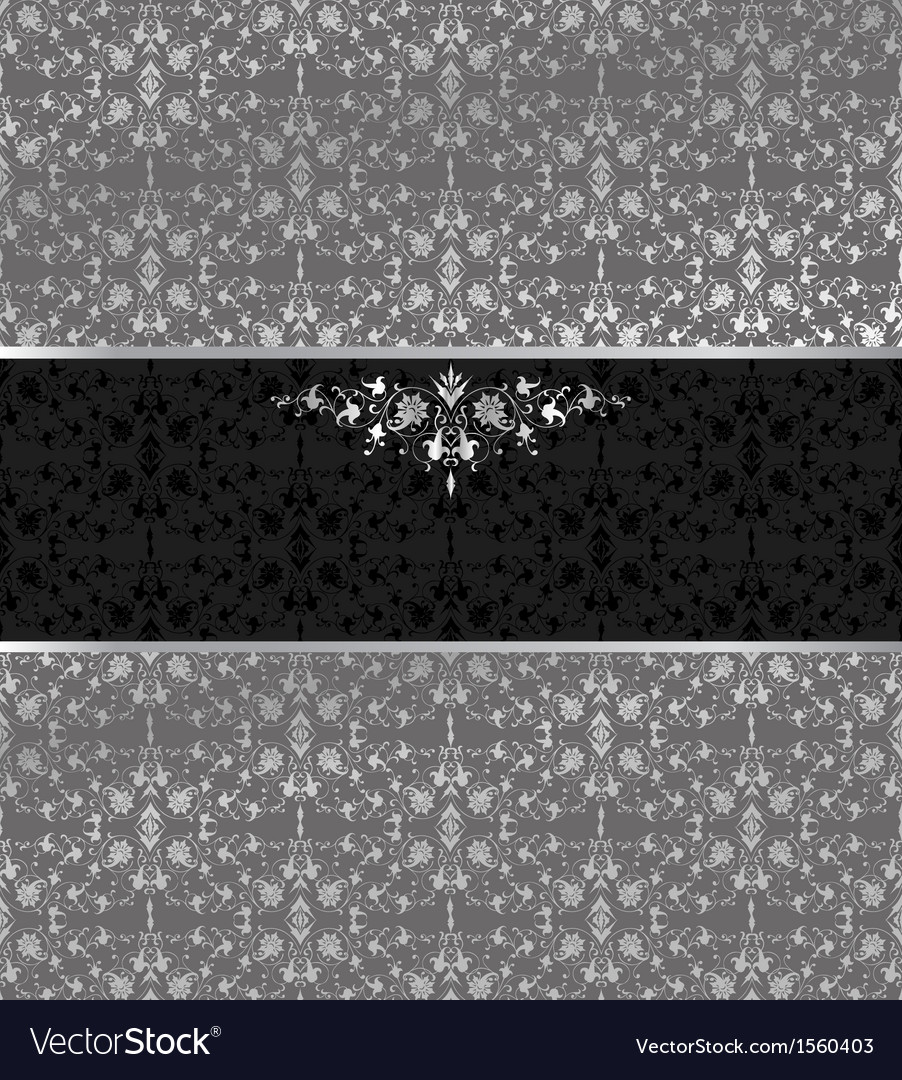 Floral seamless silver background