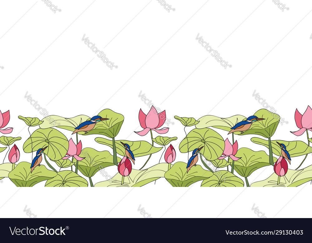 Kingfisher sitting on lotus flowers border