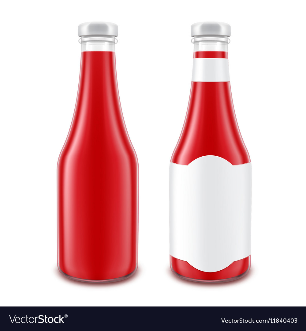 Red Ketchup Bottle for Branding without with Label vector image